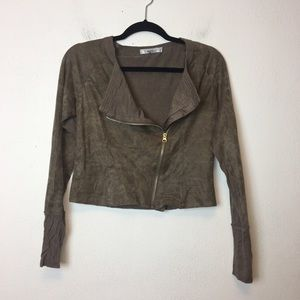 Stitchfix Miilla Taupe Faux Leather Moto Jacket